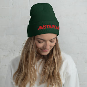 Australia Text Red, Unisex Cuffed Beanie