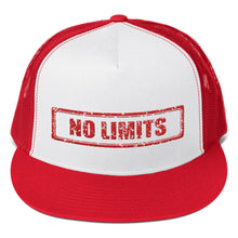 Load image into Gallery viewer, No Limits Text Sign Red, Classic Trucker Cap