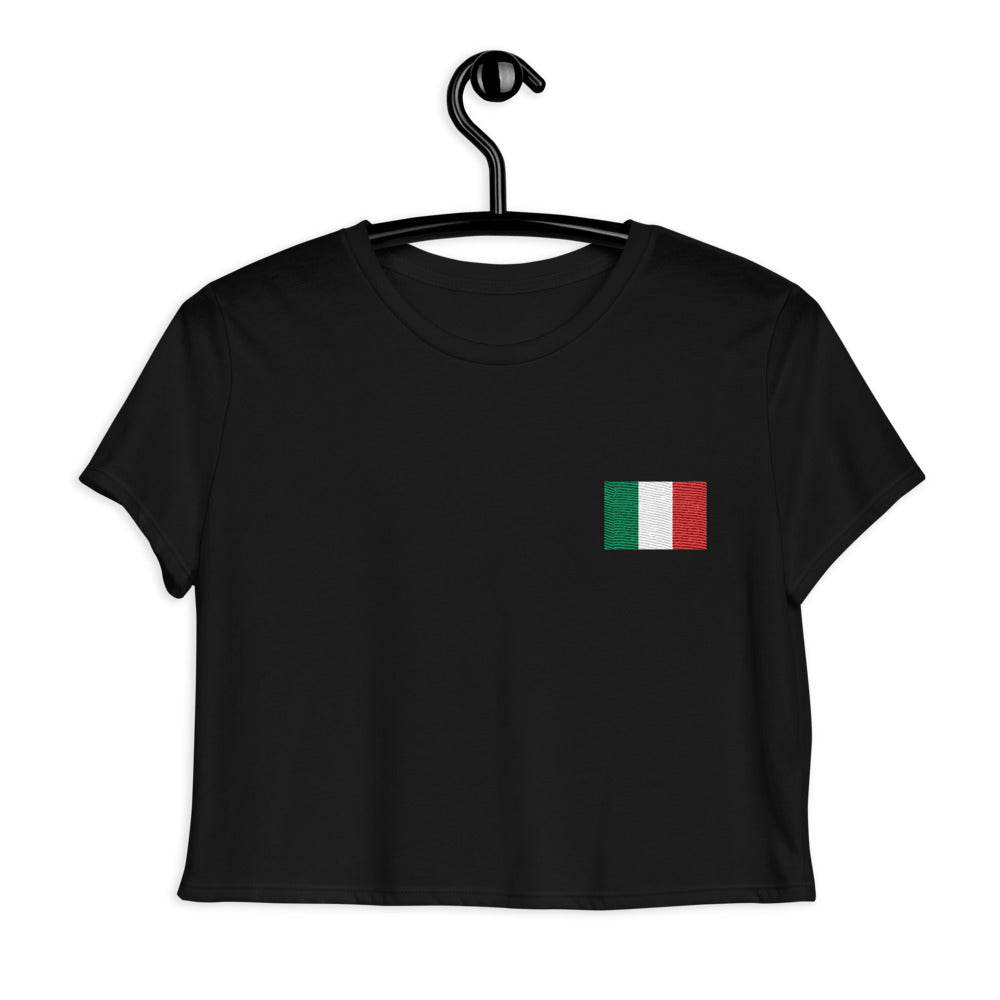 Flag of Italy, Embroidered Crop Tee Black