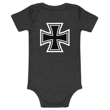 Load image into Gallery viewer, Maltese Cross Flames Gray, Baby Short Sleeve Onesie