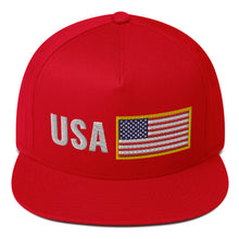 Load image into Gallery viewer, US Flag Flat Bill Snapback Hat