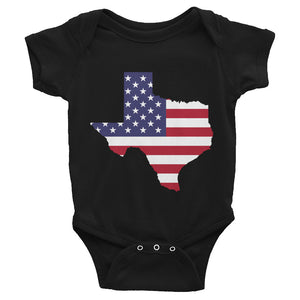 The State of Texas Map With US Flag, Infant Bodysuit