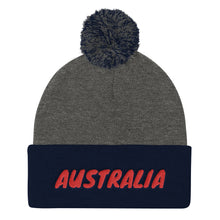 Load image into Gallery viewer, Australia Text Red, Pom Pom Knit Cap