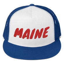 Load image into Gallery viewer, Maine Text Red, Trucker Cap