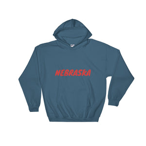 Nebraska Text Red, Unisex Heavy Blend Hooded Sweatshirt