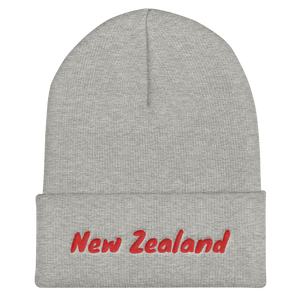 New Zealand Text Red, Unisex Cuffed Beanie