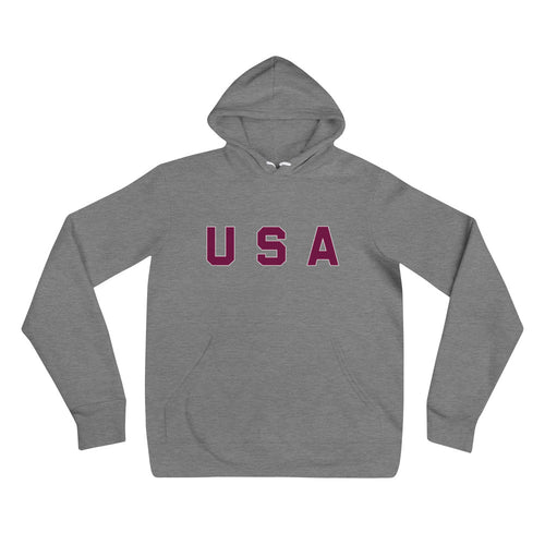 USA Text Printed Unisex Hoodie Heather Gray
