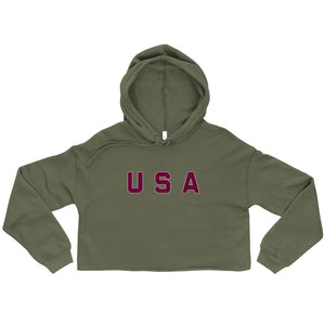 USA Text Printed Women's Crop Hoodie