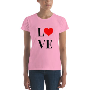 Love Heart 2, Women's Short Sleeve T-shirt Pink