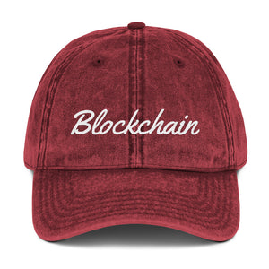 Blockchain Text White, Vintage Cotton Dad Hat