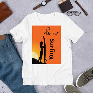 Surfer Babe Love Surfing Text, Unisex Short Sleeve Jersey T-Shirt White