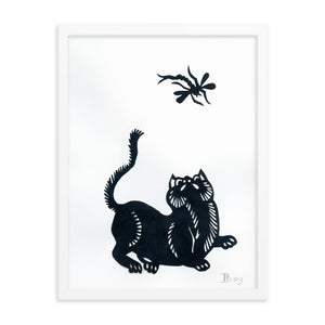 Poster of Cat and Dragonfly Paper Cutting Work