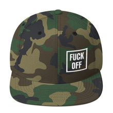 Load image into Gallery viewer, Fuck Off Square White, Snapback Hat CAMO