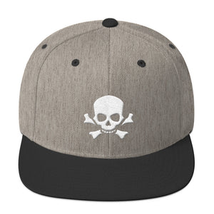 Skull and Bones White 3D Puff, Snapback Hat