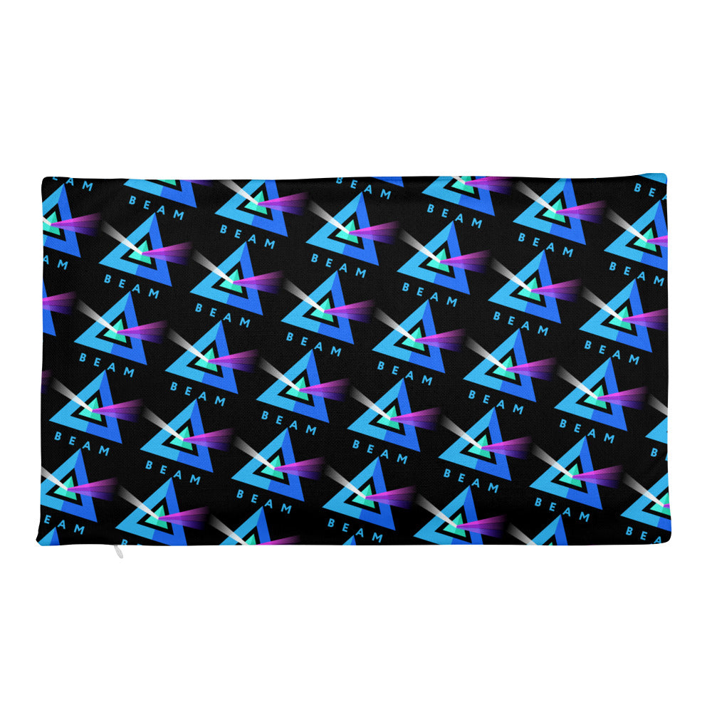 Beam Cryptocurency Logo Pattern, Black Premium Pillow Case only
