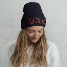 Load image into Gallery viewer, USA Text, Embroidered Unisex Cuffed Beanie