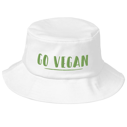 Go Vegan Text Green Old School Bucket Hat
