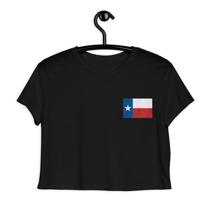 Texas Lone Star Flag, Embroidered Crop Tee Black
