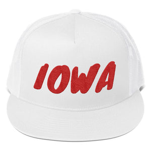 Iowa Text Red, Trucker Cap