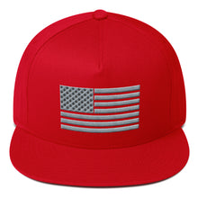 Load image into Gallery viewer, Gray US Flag 3D Puff, Flat Bill Snapback Hat
