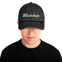 Load image into Gallery viewer, Blockchain Text White, Vintage Cotton Dad Hat