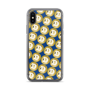 Dogecoin Logo Pattern, iPhone Case Dark Blue