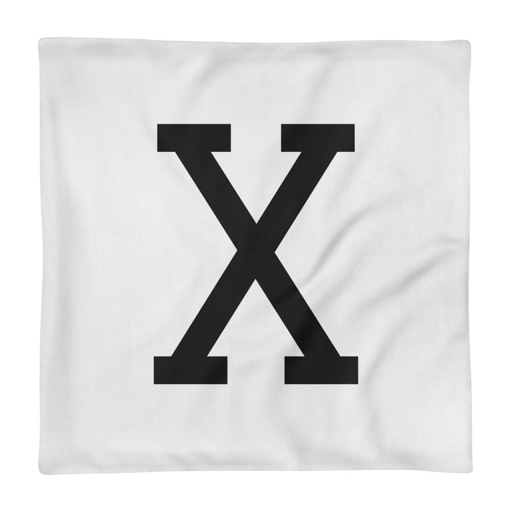 Malcom Black Letter X, Premium Pillow Case only