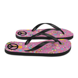 Psychedelic Flowers Pattern With Peace Sign, Unisex Flip-Flops Pink