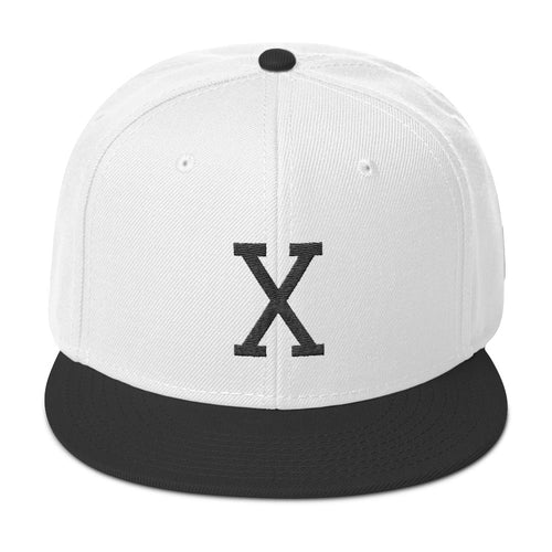Malcom Black Letter X Flat Embroidery, Snapback Hat