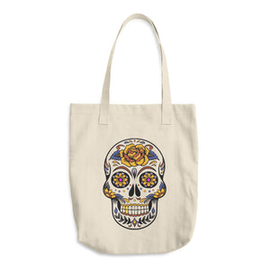 Mexican style Death Skull, Bull Denim Woven Cotton Tote Bag