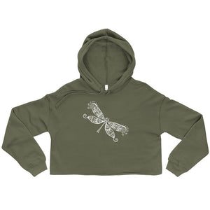 Dragonfly White, Women's Cropped Hoodie