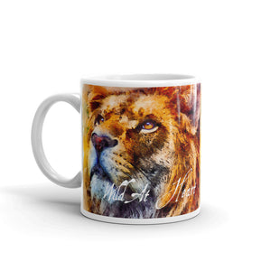 Wild At Heart Lion, White Glossy Coffee Mug