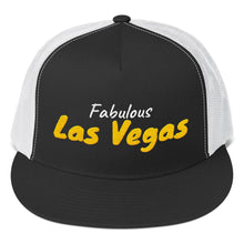 Load image into Gallery viewer, Fabulous Las Vegas White and Gold Text, Trucker Cap