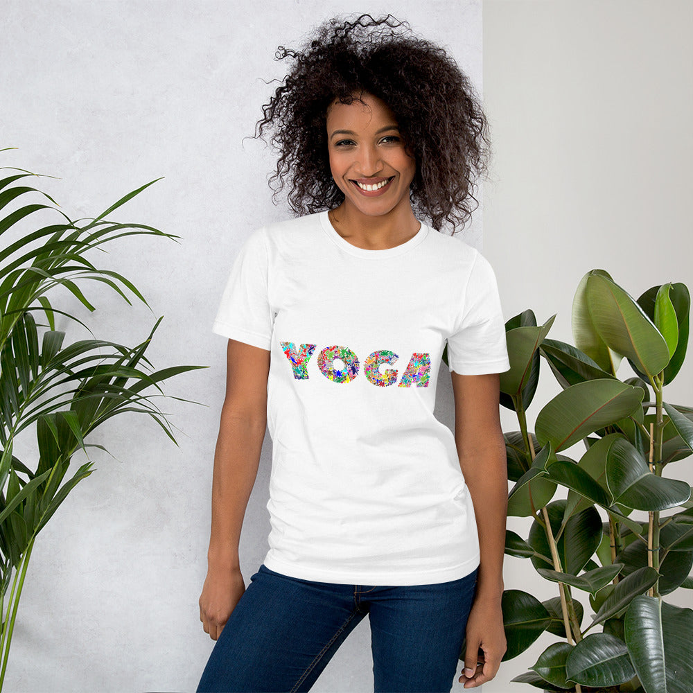 Yoga Text Colorful, Short-Sleeve Unisex T-Shirt