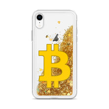 Load image into Gallery viewer, Bitcoin BTC Symbol, Liquid Gold Glitter iPhone Case