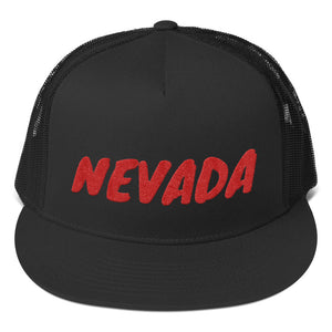 Nevada Text Red, Trucker Cap