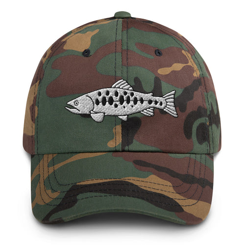 Salomon Fish Embroidered Dad Hat Green Camo