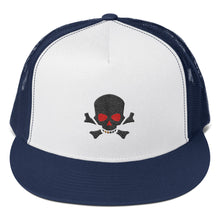 Load image into Gallery viewer, Red Eye Skull and Bones, Trucker Cap