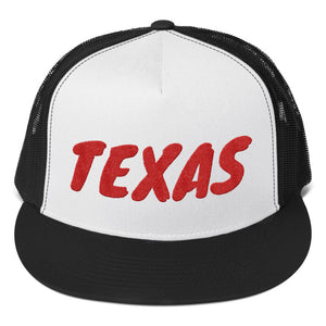 Texas text Red, Trucker Cap