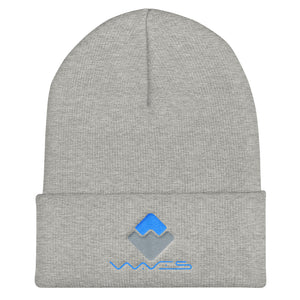 Waves Crypto Currency Logo With Text, Unisex Cuffed Beanie