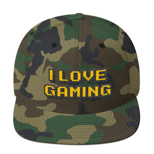 I Love Gaming Text Gold, Classic Wooled Snapback Hat CAMO