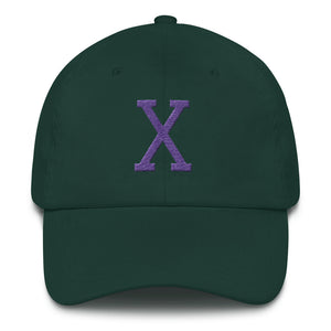 Malcom Purple Letter X Flat Embroidery, Dad hat