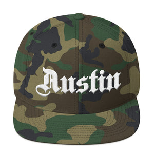 Austin Texas White, Classic Snapback Hat Camouflage