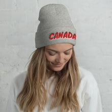 Load image into Gallery viewer, Canada Text Red, Unisex Cuffed Beanie