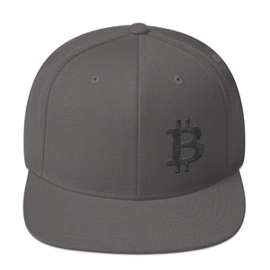 Bitcoin Cryptocurrency Logo Left Hand Side Black 3D Puff, Snapback Hat