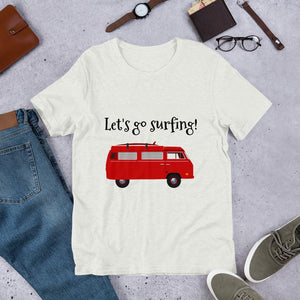 Red Van Let's Go Surfing Text, Unisex Short Sleeve Jersey T-Shirt