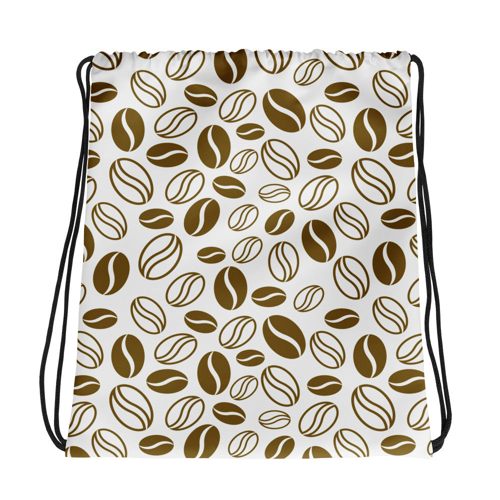 Coffee Beans Print, Drawstring Bag