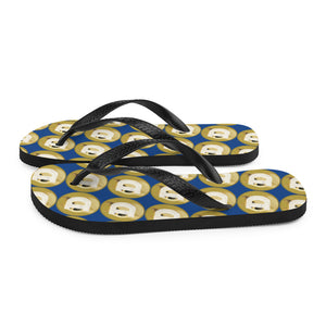 Dogecoin Cryptocurrency Logo Pattern, Unisex Flip-Flops Dark Blue
