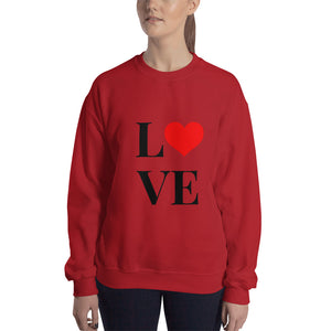Love Heart 2, Unisex Sweatshirt Red