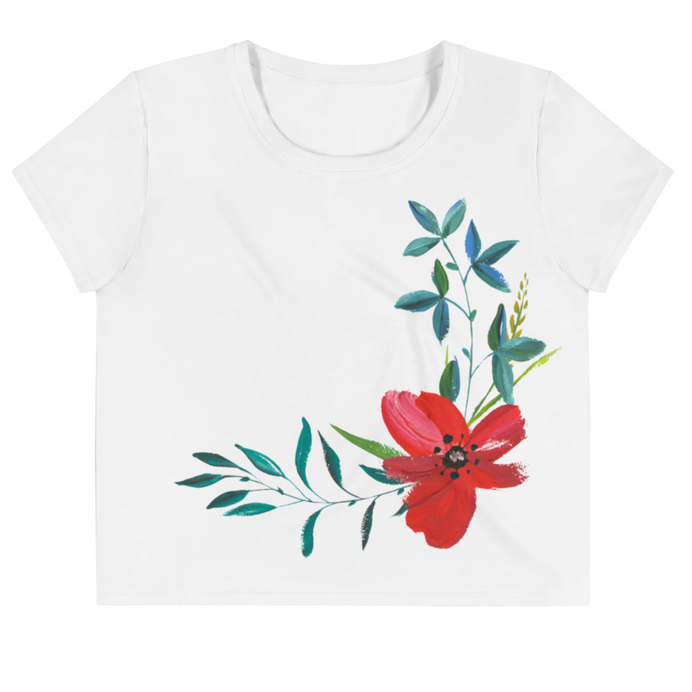 Hand Painted Flowers Women's Crop Tee White